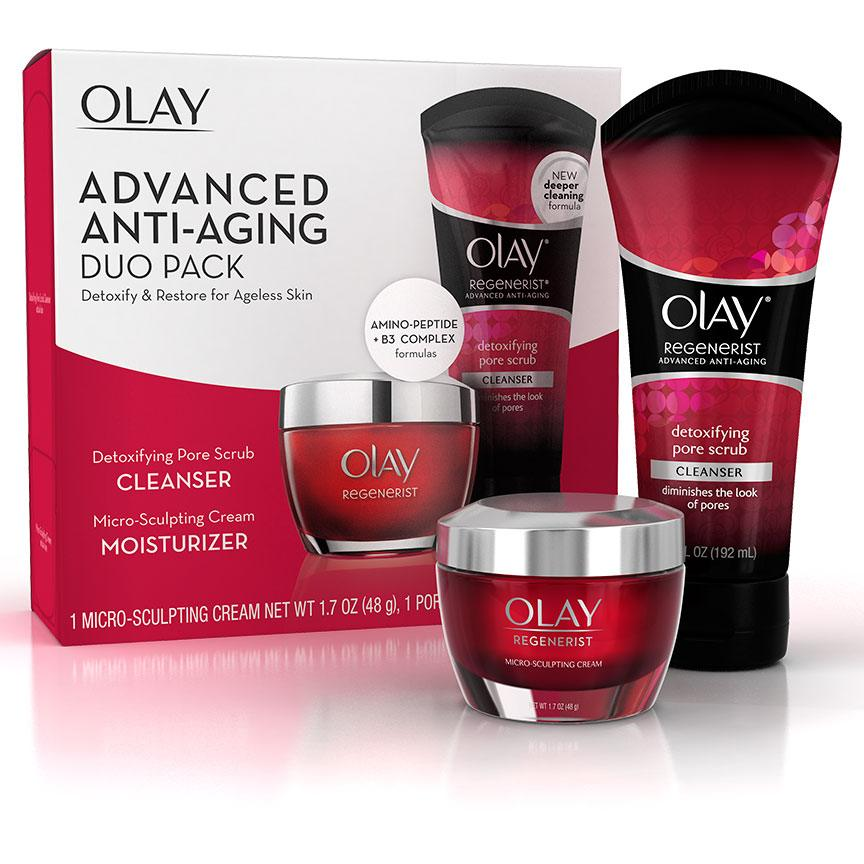2 Pack - OLAY Regenerist Advanced Anti-Aging Micro-Sculpting Scrub Cleanser 5 oz Carroten After Sun Skin Rescue Cream 150ml 5.1oz